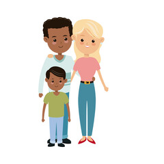 cute family multiracial happy relation image vector illustration