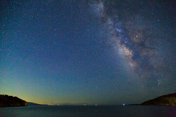 Milky way over the sea in kargi beach near Datca, Turkey