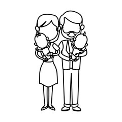 family couple carrying babys twins vector illustration
