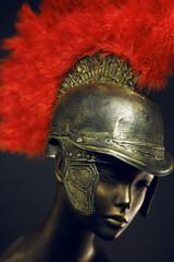 Mannequin in roman centurion helmet with plume