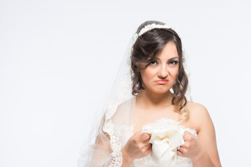 Disappointed bride fiancee portrait