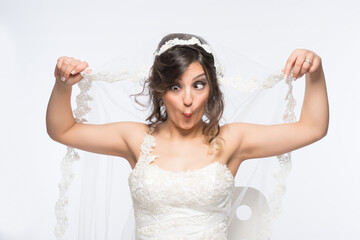 Funny and silly bride with humorous facial expression