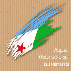 Djibouti Independence Day Patriotic Design. Expressive Brush Stroke in National Flag Colors on kraft paper background. Happy Independence Day Djibouti Vector Greeting Card.