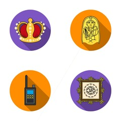 Crown, sarcophagus of the pharaoh, walkie-talkie, picture in the frame.Museum set collection icons in flat style vector symbol stock illustration web.