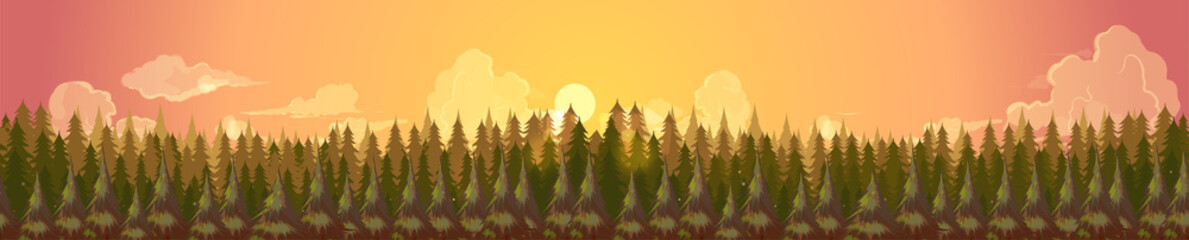 Coniferous forest silhouette template.Summer panorama background landscape banner,Vector illustration for your design