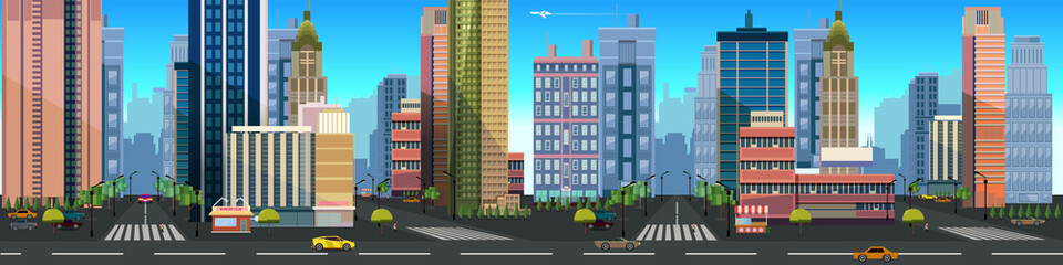 Illustration of a city landscape ,with buildings and road, vector unending background with separated layers for game.Vector illustration for your design