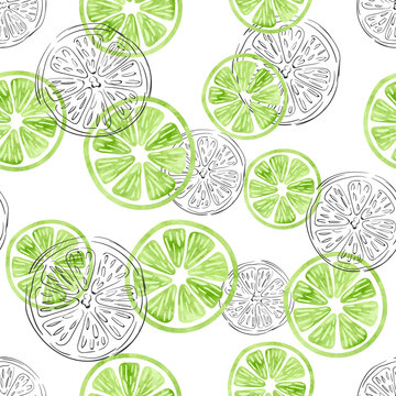 Seamless lime pattern. Vector background with watercolor and doodle lime slices.