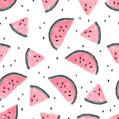 Seamless watermelons pattern. Vector background with pink watercolor watermelon slices.