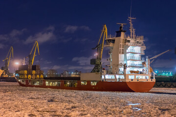 Cargo ship in the ice.