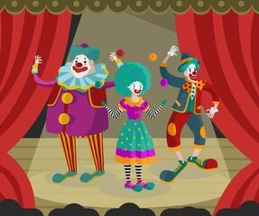 three clowns on stage