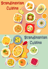 Scandinavian cuisine dinner dishes icon set