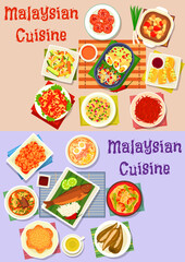 Malaysian cuisine dinner dishes icon set design