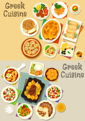 Greek cuisine tasty lunch dishes icon set