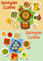 Georgian cuisine lunch icon set for food design