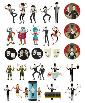 magician mimes clowns and harlequin