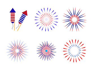 Fireworks, salute in traditional colors USA set of elements for your design. America's Independence Day, July 4, concept. Vector illustration