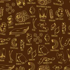 Italian pasta seamless pattern with macaroni sketch