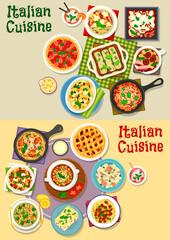 Italian cuisine pasta dishes icon set design