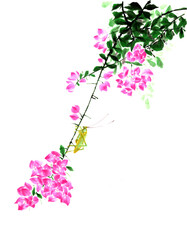 Ancient Chinese Traditional Brush Handmade Ink Painting -Bougainvillea and grasshopper