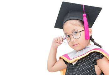 cute asian girl student thinking in graduation cap