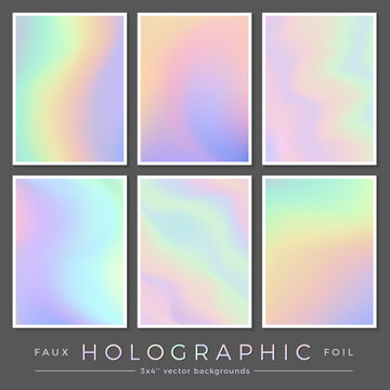hologram backgrounds: set of 6 3x4'' realistic creative faux holographic foil cards perfect for journaling / fill cards, business cards, and contemporary brochure or flyer designs