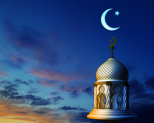 3d illustration of abstract mosque in night sky with crescent moon and star