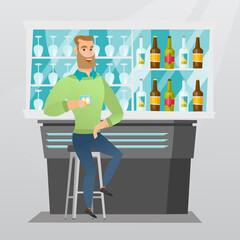 Caucasian man sitting at the bar counter.