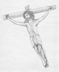 Beautiful pencil drawing illustration of Jesus Christ for easter