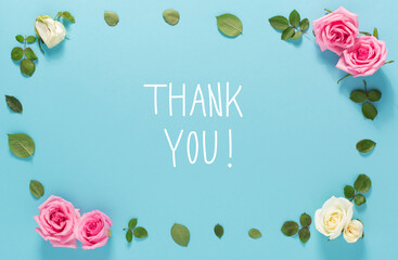 Thank You message with roses and leaves