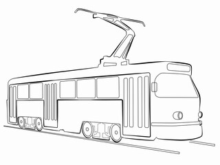 silhouette of tram. vector drawing