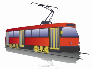 illustration of tram. vector drawing