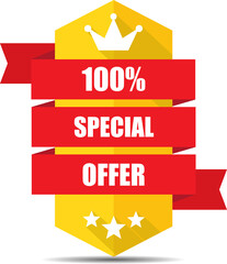 Special offer yellow label and sign.