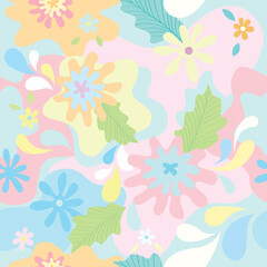 Floral disguise design to seamless pattern on pastel background colors.