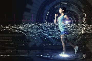 sports technology concept. running woman and various technological abstract graphics. sport science.