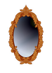 Antique oval mirror in carved wooden frame. Isolated on white.