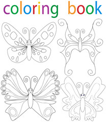 book coloring cartoon butterfly set
