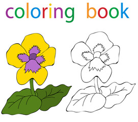 book coloring pansy flower cartoon isolated
