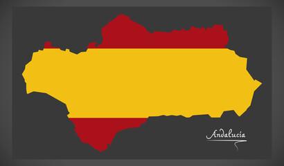 Andalucia map with Spanish national flag illustration