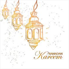 Lantern arabic with lettering ramadan kareem.