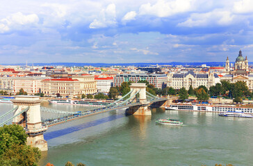 Budapest. View over the Danube and the Chain Bridge