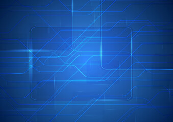Tech sci-fi abstract blue circuit board background