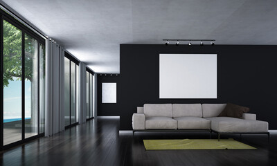 Minimal living room and lounge interior design and black wall