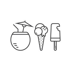 Vector frozen ice cream and beach cocktail icons in outline design. Summer cold drink and ice-creams desserts in thin line style.