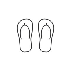 Beach step-in icon. Sea shoes or flip-flops vector illustration in thin line design.