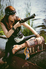 Women pirates and corsairs. Pirates of the Caribbean sea cosplay and style team