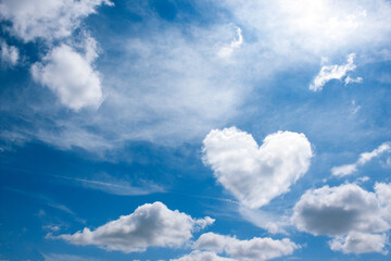 heart cloud on blue sky background. weather or love abstract symbol  with space for text