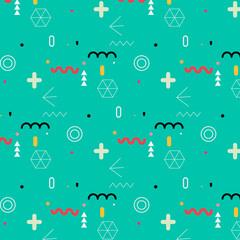 Trendy Geometric Elements Memphis Pattern.
