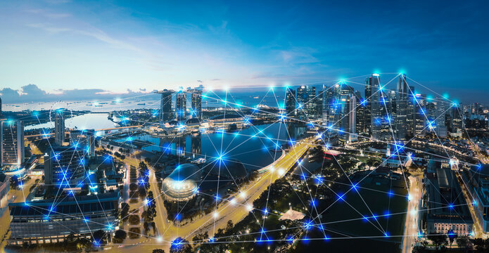 Smart city and internet of things, wireless communication network, abstract image visual