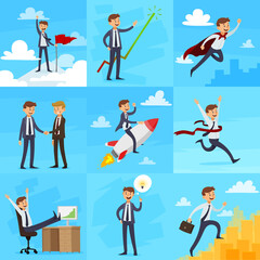 Career Growth Icons Set