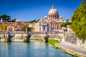 Printed roller blinds Rome Rome, Italy - Vatican, Saint Peter Basilica and Tiber River